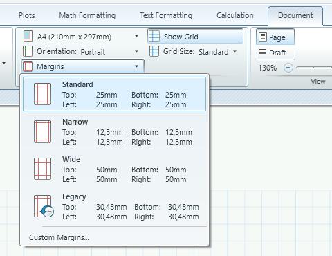 Mathcad margins